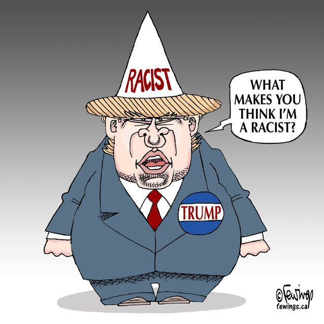 Image result for Trump the racist, cartoons